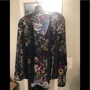 Rachel Roy mixed front floral and stripe top